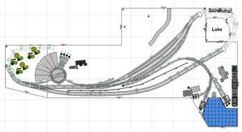 Anforderung: Langer Bahnhof, BW, kleiner Hafen und Paradestrecke
