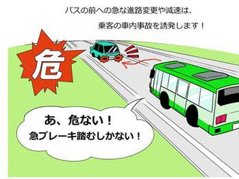急ブレーキでバス車内事故