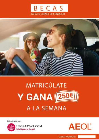 Beca Aeol, Villena, Autoescuela, Beca, carnet de conducir, carnet coche, barato, autoescuelas, biar