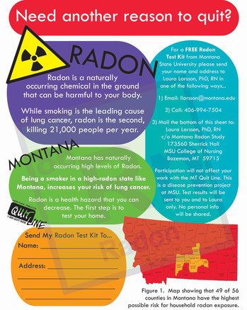 Radon Handout to be handed out in MT Quit Line kits.