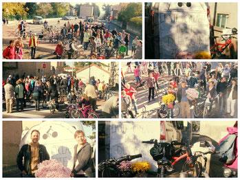 Le 1er novembre 2014, l'écologie pour Saint-Chamond a mobilisé cyclistes et non cyclistes pour un hommage à la piste cyclable sacrifiée