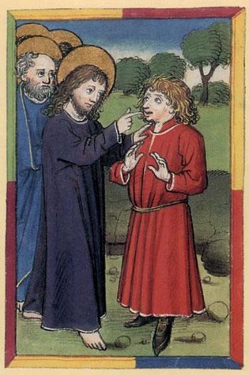 「耳が聞こえず舌の回らない人の癒し」(5世紀後半、ウルリッヒ・レッシュ修道院長の祈祷書『美しい祈りの本』)