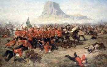 La batalla de Isandlwana (actualmente Sudáfrica).