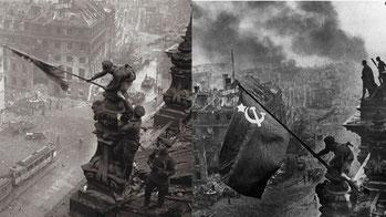 "Las tropas soviéticas toman Berlín (foto ""trucada"" de Stalin)."
