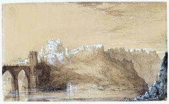 Vista hacia San Juan de los Reyes, Toledo. Aguada, lápiz y toques de albayalde sobre papel.