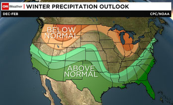 During an El Nino year Florida receives the more winter precipitation than any other part of the country - graphic via CNN