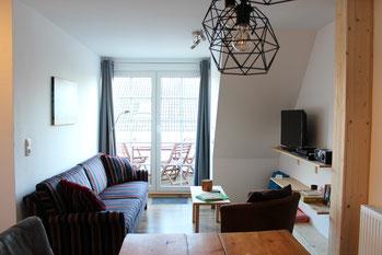 Ferienwohnung Scholle Wohnzimmer