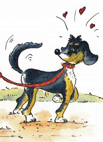 gemaltes Bild einer Hündin die ihr Frauchen anhimmelt. Ein Bernersennenhund an der roten Leine mit Herzchen versehen