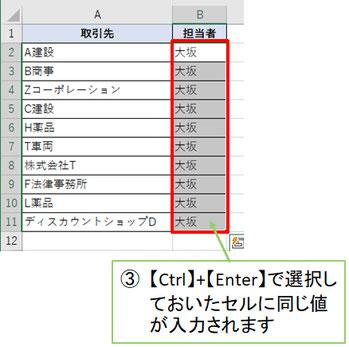 【Ctrl】+【Enter】で作業完了