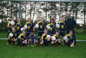 Die E-Jugend am 17.10.2014 vor dem Punktspiel gegen den VfB Münkeboe, das leider mit 1-4 verloren ging.