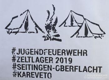 Logo des Kreisjugendfeuerwehrzeltlagers 2019 in Seitingen-Oberflacht