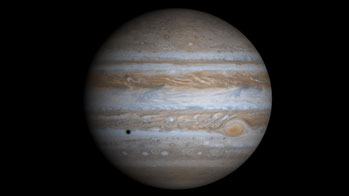 This true-color simulated view of Jupiter is composed of 4 images taken by NASA's Cassini spacecraft on December 7, 2000. To illustrate what Jupiter would have looked like if the cameras had a field-of-view large enough to capture the entire planet, the c