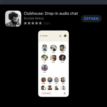 Screenshot Clubhouse-App im Appstore