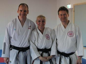 v. l.: Soundkarate-Referent Christian Grüner (DKV), Friederike Zeifang (Shotokan Karate Stade e. V.) und Carsten Zeifang (Shotokan Karate Stade e. V.) in Schmalkalden 2016