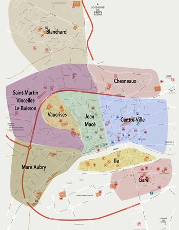 Château-Thierry : carte des lieux de vie.