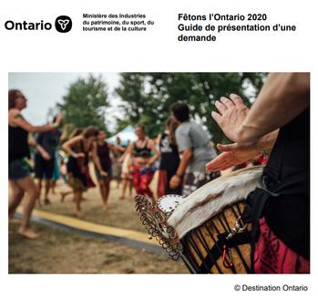 Lien au Guide de présentation d'une demande à Fêtons l'Ontario 2018
