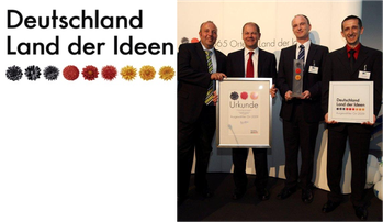 """""""Deutschland – Land der Ideen"""" hat die NANO-X GmbH in dem bundesweiten Innovationswettbewerb als """"Ausgezeichneten Ort im Land der Ideen"""" im Jahr 2009 ausgelobt."""