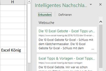 Excel 2016 Intelligente Suche