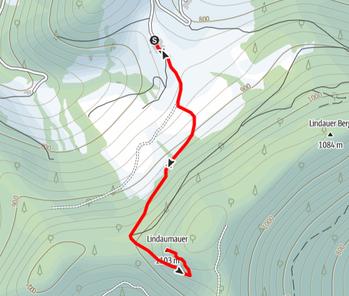 Route von der Jausenstation Hochramskogler bei Maria Neustift auf die Lindaumauer