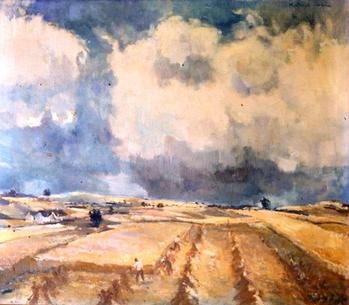 Titel: Landskab, Teknik: Maleri - olie på lærred, Mål: 70,0 cm x 80,0 cm