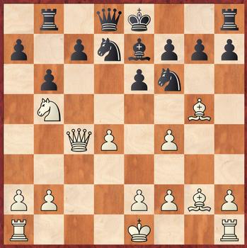 Margenberg - Wagner: Weiß gewinnt hier nach 11.Sb5! 0-0 12.Sxa7 einen Bauern, vor allem aufgrund des starken Läufers auf g2