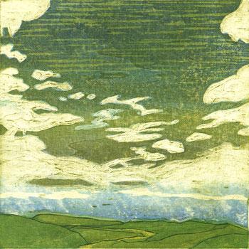 「空に近い場所」木版凹版凸版刷り 25x25cm