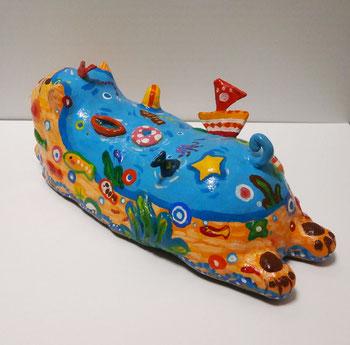 「なごみの海猫」 樹脂粘土他 60x170x80mm