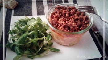 Parmentier de patate douce, cabillaud et crumble de chorizo
