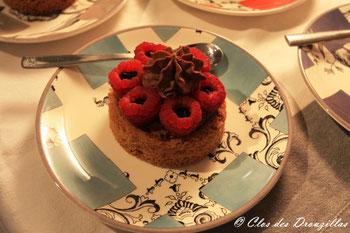 Sablé choco-framboises, crème de balsamique