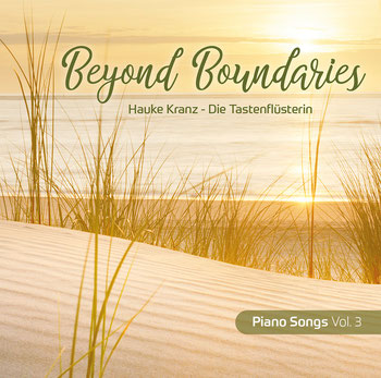 "Cover CD ""Open Skies"" - Piano Songs Vol. 2 ,  Klaviermusik zum Ankommen, Nordseestrand bei Sonnenuntergang"