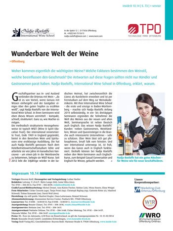 "Artikel in der ""insideB"" über die International Wine School Nadja Roeloffs"