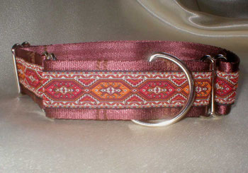 Martingale, Halsband, 4cm, Gurtband schokobraun, edele Borte