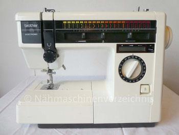 Brother VX-950 Electronic (baugleich Quelle Privileg Topstar 860), Freiarm Serienummer C81615391, Made in Taiwan, ca 1985/88, Gewicht 9 Kg 21 Programme, LCD-Anzeige 70 Watt Einbaumotor, CB Greifer, Hersteller: Brother, Japan