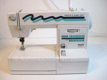 Pfaff 6091 Strech & Jeans, Freiarm-Haushaltsnähmaschine mit Nutzstichautomatik, SN: 34424105, Hersteller Pfaff AG Karlsruhe-Durlach (Bilder: D. Schönenberger)