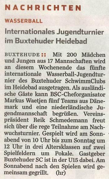 Hamburger Abendblatt vom 08.05.2015: Wasserball/Internationales Jugendturnier im Buxtehuder Heidebad