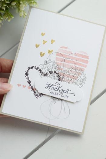 Stampin Up Grußkarte Hochzeitskarte Papierwunder Basteln Hochzeit Hochzeitsgeschenk Geldgeschenk Heart oh Happiness Herzen Embossing