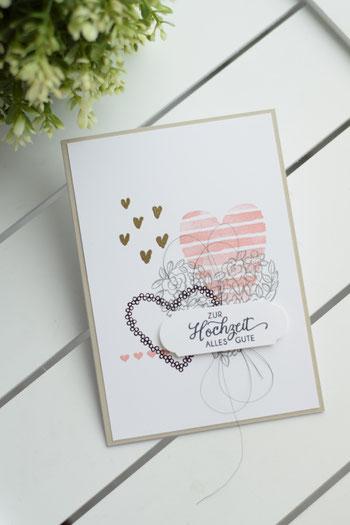 Stampin Up GrußkarteHochzeitskarte Papierwunder Basteln Hochzeit Hochzeitsgeschenk Geldgeschenk Heart oh Happiness Herzen Embossing