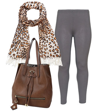 Tigerprint Schal , braune Leggings in allen Größen , braune Beuteltasche , modische Highlights