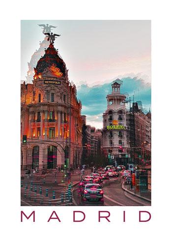 Poster Gran Vía Madrid, Metropolis Haus, Spanien, moderne Wandbilder