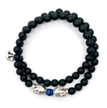 Buddha Armband Silber Onyx Amethyst Buddhaarmband Herren Damen