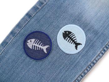 Jeans patch Jeansflicken mini Fisch Gräten Fischskelett