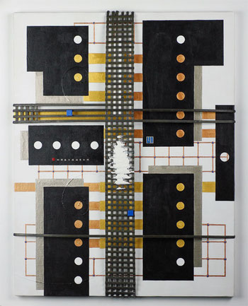 JAPANESE SECRET - BLACK MODERN 1   410mm×530mm  P10  Acrylic, bamboo, wood, plaster   2014
