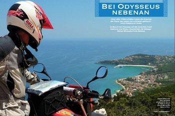 Blick vom Theodokou Kloster hinab auf den Hafen von Poros