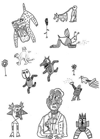 """Figuren. Feder- und Tuschezeichnungen von Niels-Schroeder, dem Zeichner der Graphicnovel """"I got Rhythm"""" über das Leben von Coco Schumann."""
