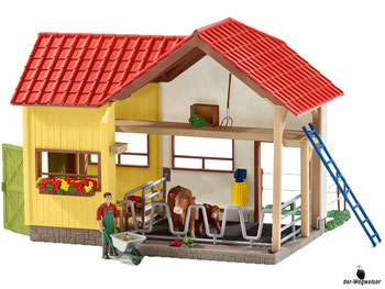 Im Paket Schleich 42334 mit 62 Einzelteile ist ein Stall, ein Bauer, eine Kuh, ein Kalb, eine Leiter, eine Mistgabel, ein Schubkarren, ein Futtertrog, ein Kälbeneimer eine Massagebürste und weiteres Zubehör.