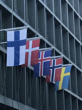 フィンランド、デンマーク、ノルウェイ、アイスランド、スウェーデン国旗 十字に喜びと悲しみ、そして希望が刻まれているように僕は思います。
