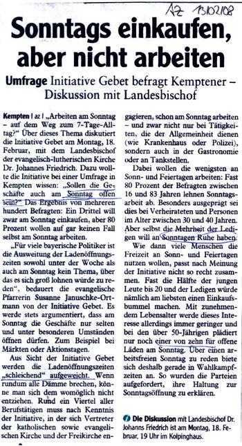 Allgäuer Zeitung 13.02.2008