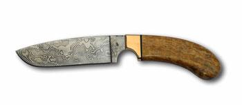 Jagdmesser Wirbelsind, Damast, Heft stabilisierte Esche