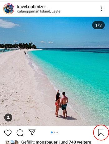 Instagram Reisetipps abspeichern