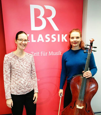 Cello player and composer Stefanie John from Berlin at the recording studios of BR Klassik in Munich for a radio feature about Campanula music